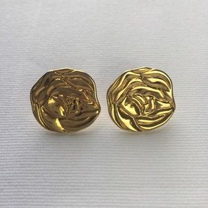 Vintage LCi Roses Gold Tone Stud Earrings